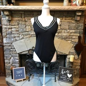 NWT Kenneth Cole Tummy Toner Black Swimsuit XL